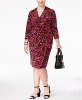 Anne Klein Plus Size Printed Faux-Wrap Dress