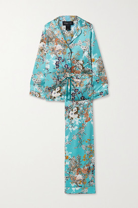 MENG Floral-print Silk-satin Pajama Set - Turquoise