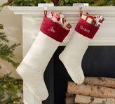 Pottery Barn Velvet Stocking - Ivory with Red Cuff