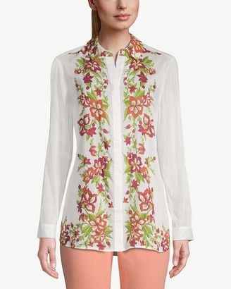 Chico's Flower-and-Vine-Trimmed Button-Down Shirt