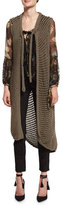 Etro Fishnet Knit Long Vest, Taupe