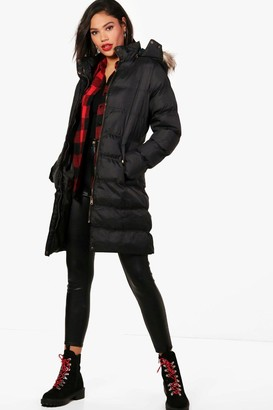 boohoo Longline Hooded Faux Fur Trim Puffer Jacket
