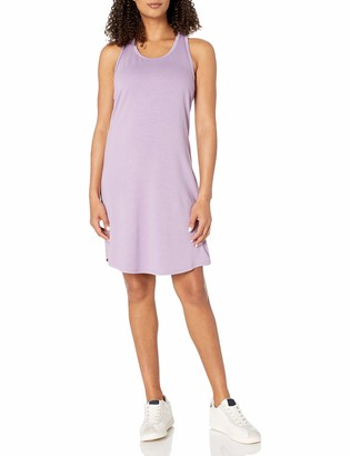 Core 10 Women's Supersoft French Terry Relaxed-Fit Mesh Trim Racerback Yoga Dress