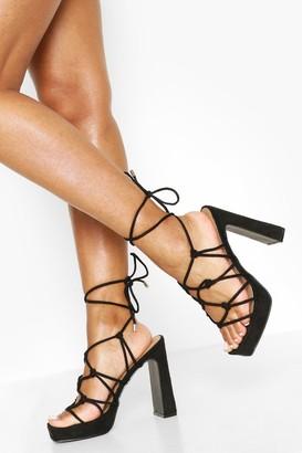 boohoo Knot Detail Strappy Platform Heels