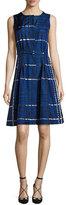 Oscar de la Renta Sleeveless Belted Plaid Silk A-Line Dress, Blue