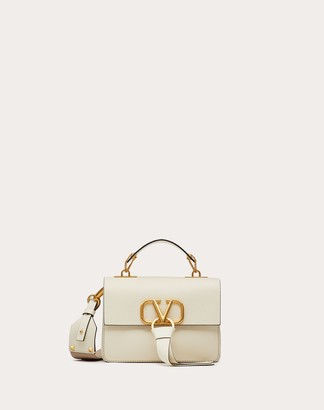Valentino Small Vring Grainy Calfskin Crossbody Bag Women Light Ivory 100% Pelle Di Vitello - Bos Taurus OneSize