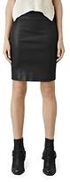 AllSaints Coated Denim Pencil Skirt