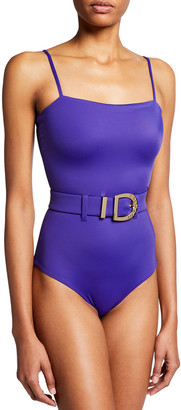 Balmain Solid Belted One-Piece Swimsuit