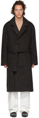 Lemaire Burgundy Wool Large Overcoat
