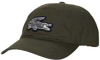 Lacoste Graphic Twill Cap with Designed Big Croc on Front (Baobab/Eclipse Jaspe) Caps