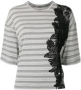 Antonio Marras lace detail striped T-shirt - women - Polyamide/Polyester/Spandex/Elastane/Viscose - 38