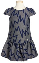 Armani Junior Girl's Zig Zag Drop Waist Dress