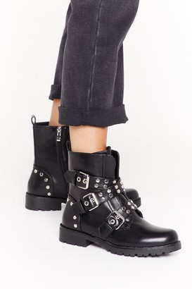 Nasty Gal Womens Stud For You Faux Leather Buckle Boots - Black - 3