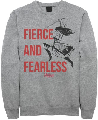 Licensed Character Men's Disney Mulan Live Action Fierce And Fearless Action Pose Sweatshirt