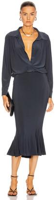 Norma Kamali for FWRD Boyfriend Shirt Fishtail Dress in Pewter | FWRD