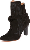 Ulla Johnson Aggie Embroidered Tie Booties