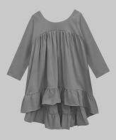A.T.U.N. Women's Tunics charcoal - Charcoal Gray Ruffle-Hem Sydney Tunic - Women