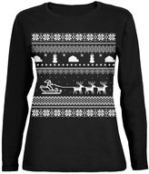 Old Glory Santa Sleigh Ugly Christmas Sweater Womens Long Sleeve T-Shirt