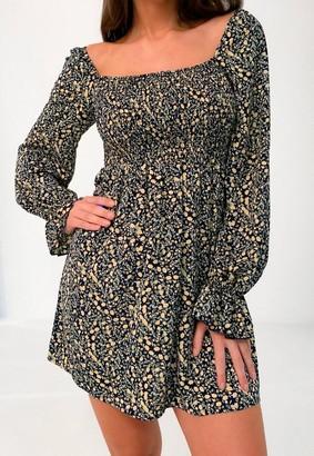 Missguided Floral Milkmaid Shirred Mini Dress