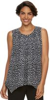 Dana Buchman Women's Pleated Overlay Sleeveless Top