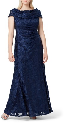 Tahari Floral Burnout Evening Gown