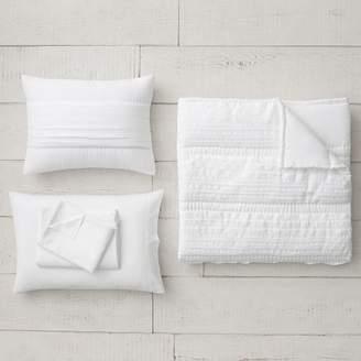 Pottery Barn Teen Pretty Pleats Quilt Set, Twin/Twin XL, White
