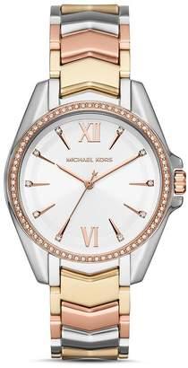 Michael Kors Whitney Tri-Tone Chevron Link Bracelet Watch, 38mm