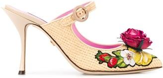 Dolce & Gabbana Woven Raffia Bouquet Mules