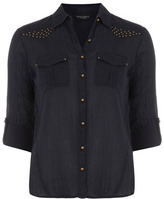 Dorothy Perkins Navy stud yoke shirt