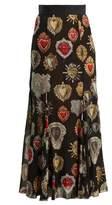 Dolce & Gabbana Heart-print fluted skirt