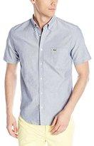 Lacoste Men's Short Sleeve Oxford Regular Fit Button Down Woven Shirt