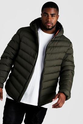 boohoo Mens Green Big & Tall Quilted Zip Jacket With Hood, Green