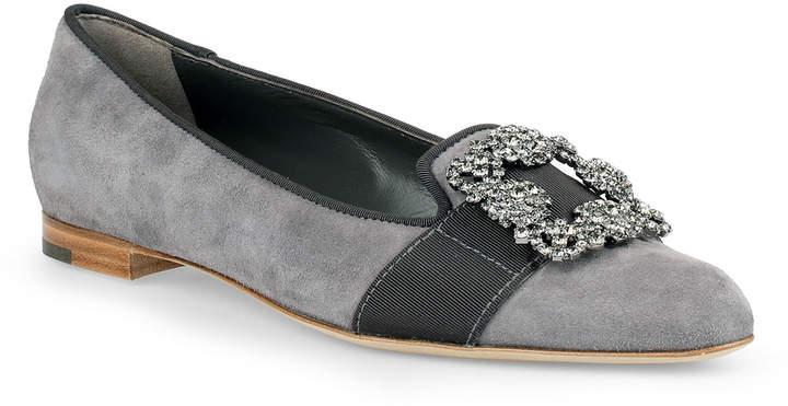 Manolo Blahnik Marria grey suede embellished slipper