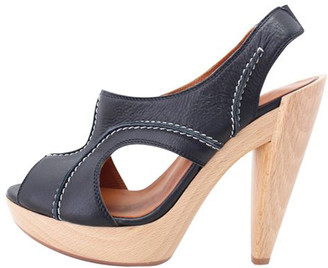 Lanvin Black Leather Wooden Heel Sandals Size 37