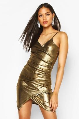 boohoo Tall Wrap Metallic Mini Dress