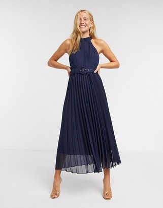 Style Cheat pleated midi dress in blue