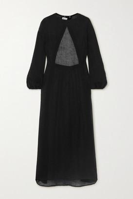 Le Kasha Open-back Linen Maxi Dress - Black