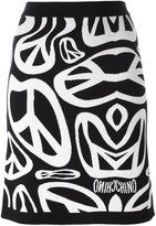 Moschino peace sign intarsia skirt - women - Virgin Wool - 36