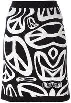 Moschino peace sign intarsia skirt