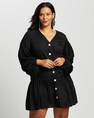 Atmos & Here Camile Tie Sleeve Smock Mini Dress