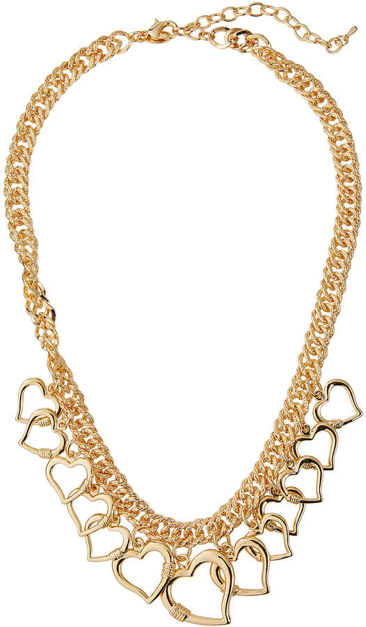 Emily and Ashley Greenbeads By Open Heart Charm Necklace, Gold