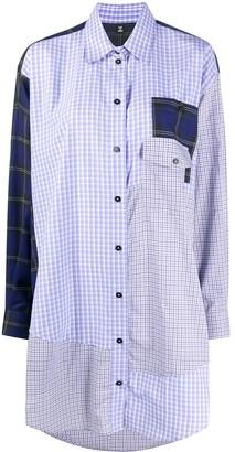 Mcq Swallow Patchwork Plaid Shirt Dress