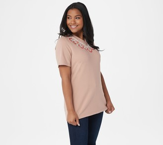 Denim & Co. Short-Sleeve Embroidered Top