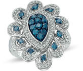 Zales 1 CT. T.W. Enhanced Blue and White Diamond Pear-Shaped Flower Ring in Sterling Silver - Size 7