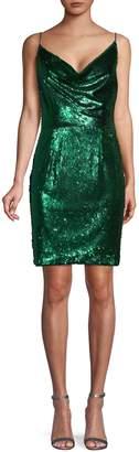 Black Halo Sequin-Embellished Mini Dress