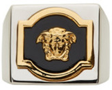 Versace Silver & Gold Square Medusa Ring