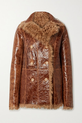 Sies Marjan Pippa Oversized Reversible Glossed Cracked-leather And Shearling Coat - Tan