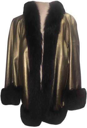 Saint Laurent Gold Leather Leather Jacket for Women Vintage