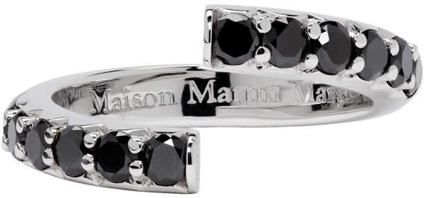 Maison Margiela Jewellery White Gold Half-Pave Diamond Alliance Split Ring