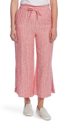 Vince Camuto Tranquil Stripe Crop Wide Leg Linen Blend Pants